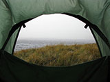 Camping in hill fog