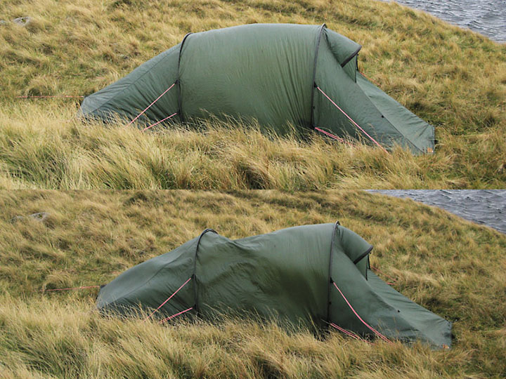Tent Battered by Wind